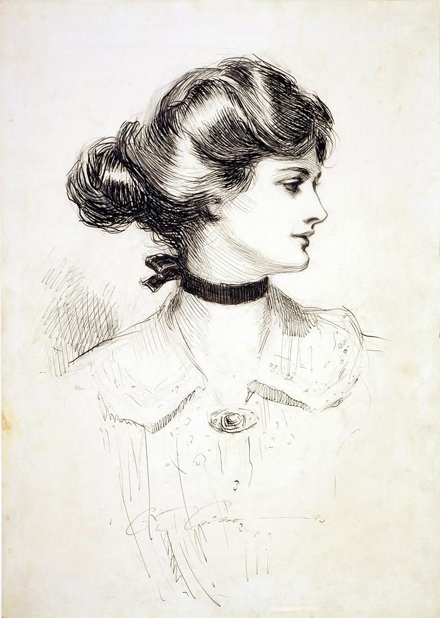1909 Drawing By Charles Dana Gibson. This is actually still a nice style. Hope it comes back in fashion. :)