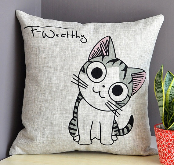 Throw Away Pillow Cases : Eco-friendly Cute Big Eyes Cats Cushion Cover, Cotton Linen Cushion Case, Throw Away Cushion ...