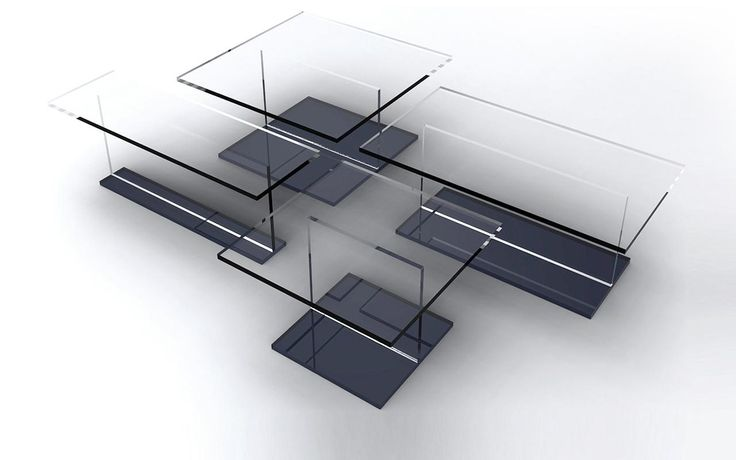 Tea for two glass coffee table sacha lakic design for - Table basse verre roche bobois ...