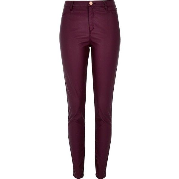 River Island Dark red leather-look skinny pants (110 AUD) ❤ liked on Polyvore featuring pants, red, skinny pants, women, skinny trousers, red faux leather pants, tall pants and zip pants