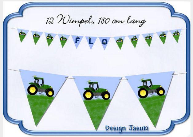 **Deko Kindergeburtstag:**  **Papiergirlande Motiv Traktor, mit 12 Wimpeln und weißem Band, Gesamtlänge 180 cm.**  **Im Preis enthalten sind drei Buchstaben und 8 Wimpelmotive**  **Jeder...