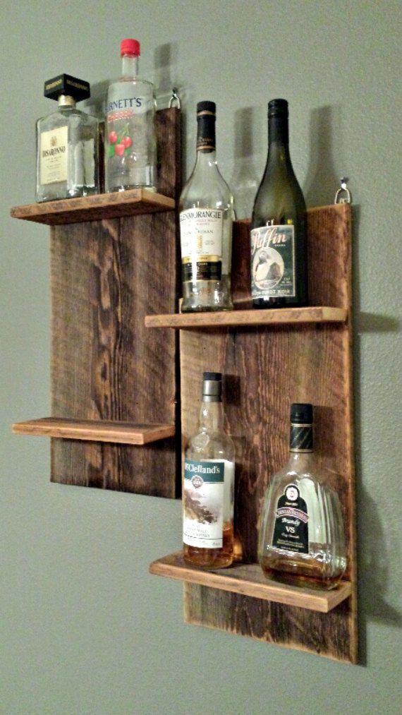 Reclaimed barn wood shelf for wine liquor by for Diy liquor bar