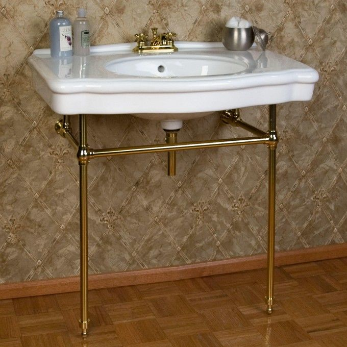 Photo Of Pennington Porcelain Console Sink with Brass Stand Bathroom