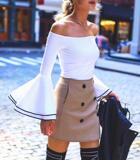 Off shoulder bell sleeve top with casual skirt