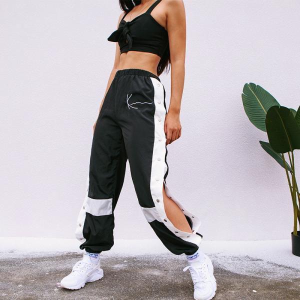 63 51 44 Off Houzhou רצים נשים אופנה טלאי מכנסי טרנינג הרמון מזדמן צד פיצול כפתור Panelled גבוה מותן מכנסיי Calca Capri Feminina Streetwear Moda Feminina