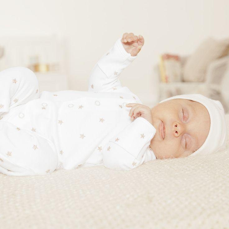 JoJo Maman Bebe   Unisex Embroidered Star Baby Sleepsuit   #jojosleepsuit  #romber #babygrow