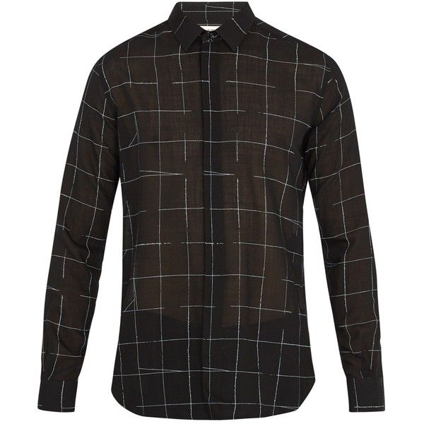 Saint Laurent Grid-print wool-blend shirt (664,035 KRW) ❤ liked on Polyvore featuring men's fashion, men's clothing, men's shirts, men's casual shirts, mens double cuff shirts, mens french cuff shirts, mens white casual shirt and mens white french cuff dress shirts