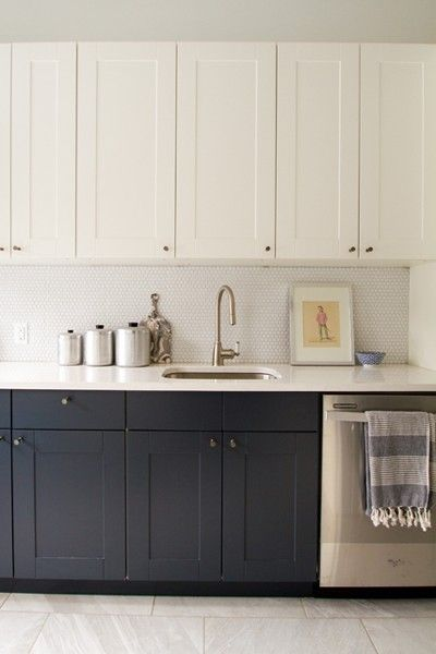 Different Color Cabinets Add Dimension With Lighter Upper