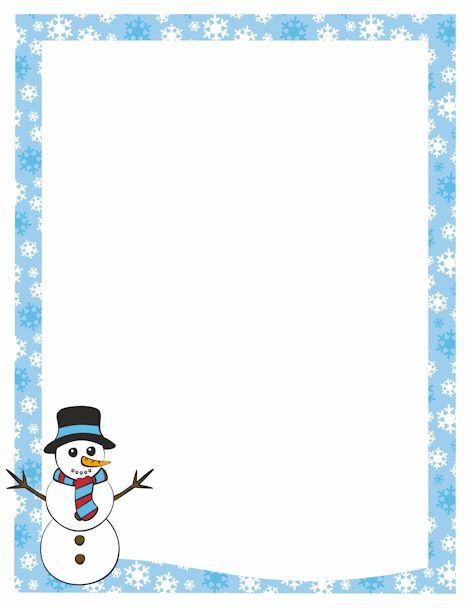 A page border featuring a snowman and a snowflake border. Free downloads at http://pageborders.org/download/snowman-border/