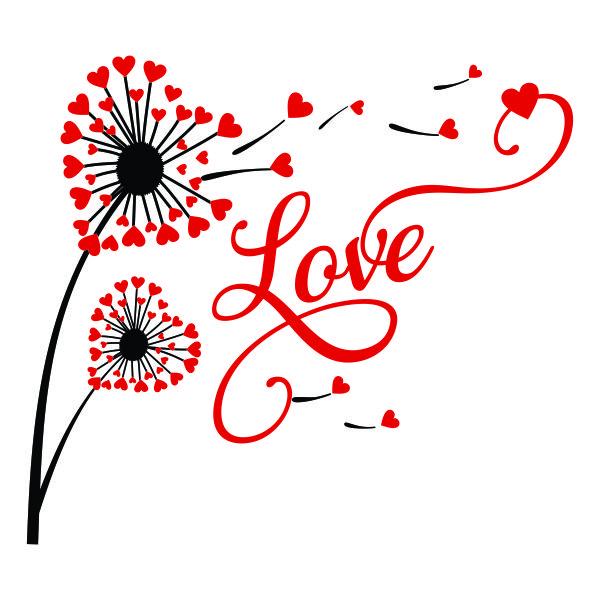 Dandelion Heart Love Cuttable Designs Cricut, Cricut