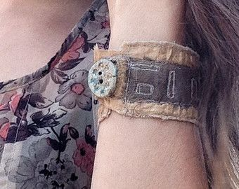 Handmade bohemian textile cuff bracelets and by ThreadReverie