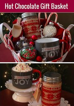 Hot Cocoa Gift Basket with Homemade Cocoa Mix