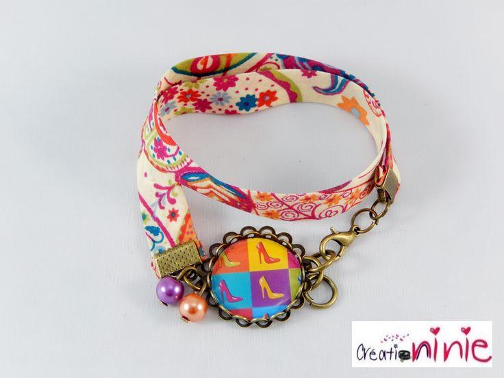 Bracelet au motif escarpins pop colorés liberty rétro vintage : Bracelet par creation-ninie