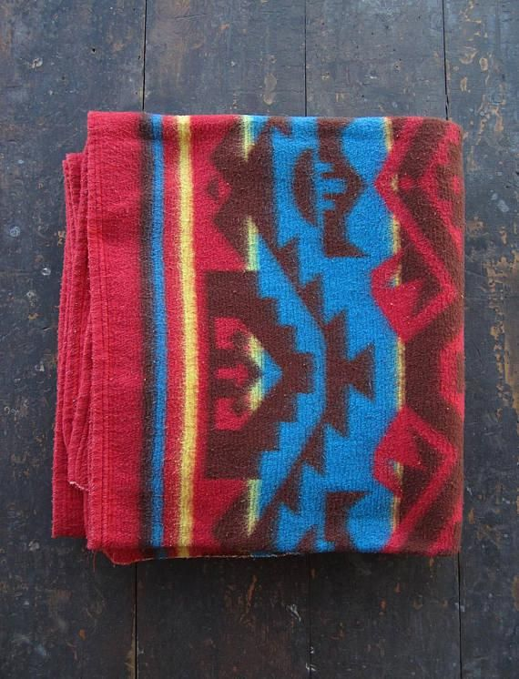 Vintage 50s Camp Blanket Red Blue Beacon Large Throw Cotton Rayon Campingblanket Ohio Camping