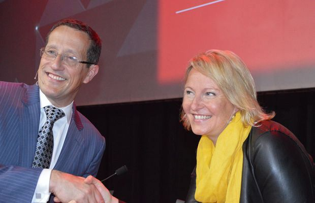 Helena Egan of TripAdvisor (right) with CNN's Richard Quest at INDABA 2014