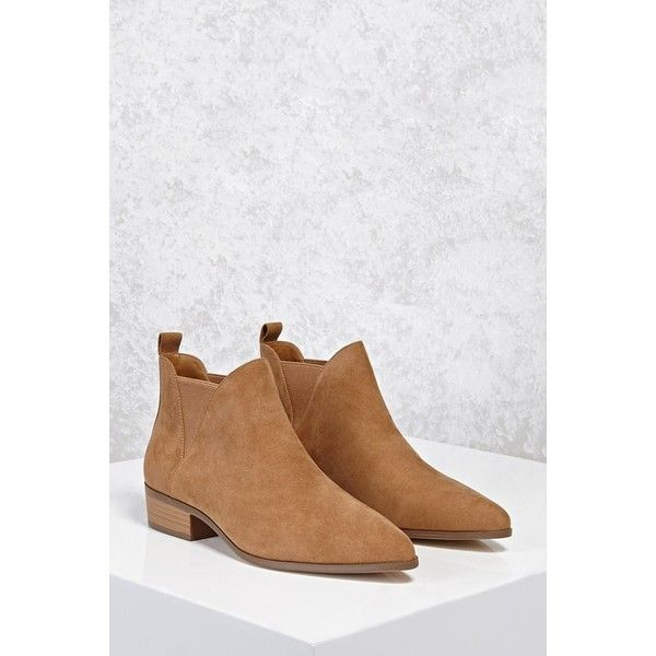 Forever21 Faux Suede Chelsea Boots ($33) ❤ liked on Polyvore featuring shoes, boots, ankle booties, ankle boots, tan, platform chelsea boots, platform boots, tan chelsea boots and short boots