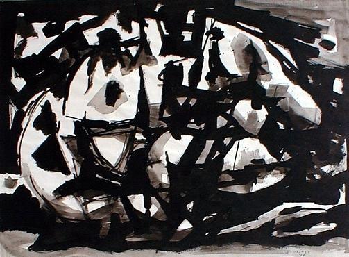 Enzo BRUNORI Senza titolo, 1958 Tecnica: Acrilico e acquerello su carta Formato: Cm 47,2x64 Note: Firma e data a penna. Carta Raffaello Fabriano