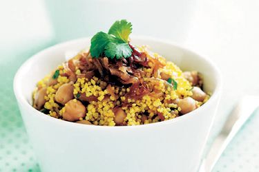 Spicy chickpea and caramelised onion couscous.