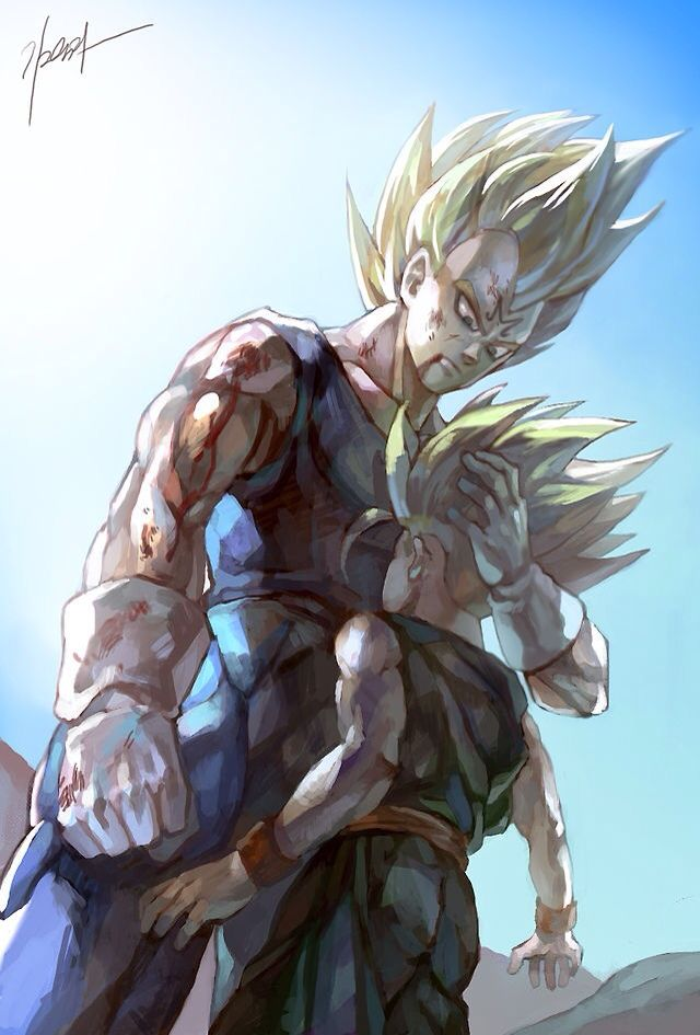 Vegeta and Trunks. This almost made me cry. This is my favorite Vegeta moment ever. First time ever to hug his son, Trunks.