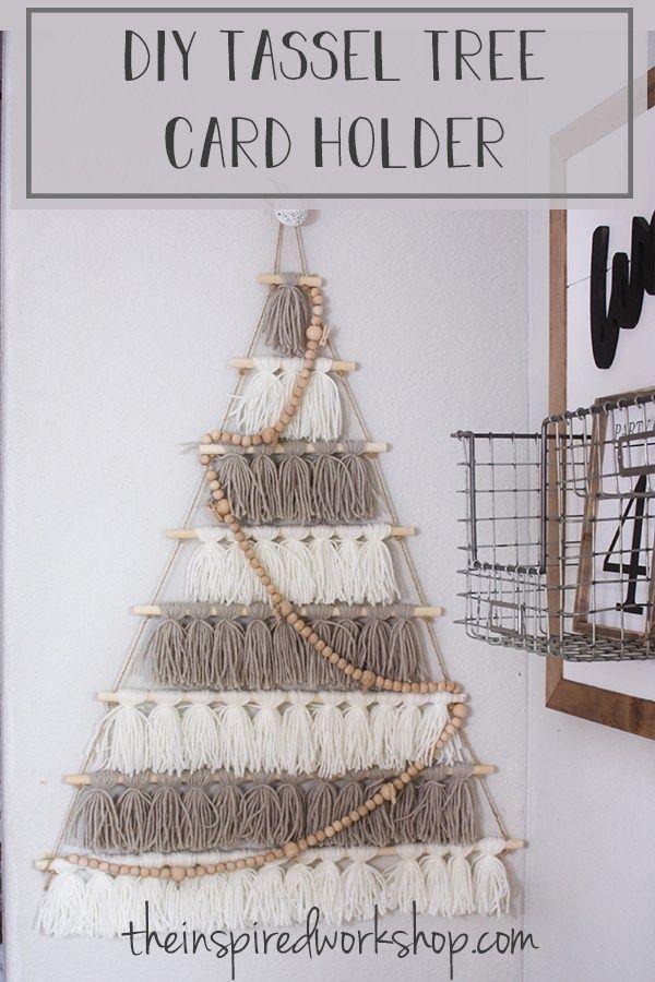 Diy Tree Card Holder Made Of Tassels Christmas Decor Diy Christmas Card Holders Diy Tree