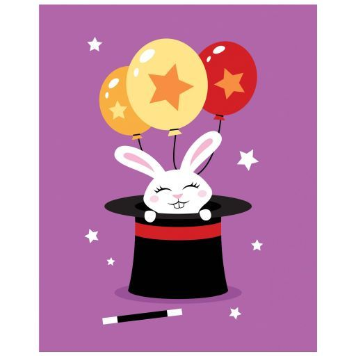 Cute nursery wall art print featuring a white rabbit with balloons in a magicians hat. White stars, purple background.