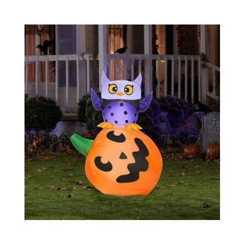 airblown inflatable owl pumpkin stack halloween decoration outdoor yard 4 foot halloween - Walmart Halloween Decorations