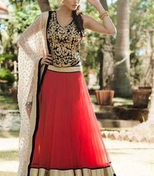 Buy Designer Red , Black and Off White Embroidered Lehenga bollywood-lehenga online