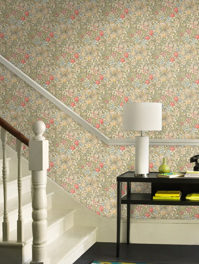 William Morris & Company | Products | British/UK Fabrics and Wallpapers | Golden Lily pale biscuit (DM6P210398) | Archive Wallpapers