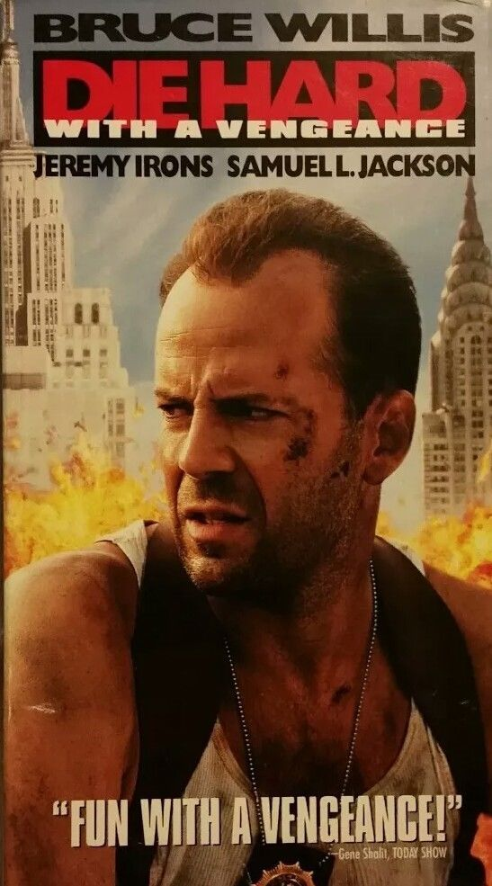 Die Hard With a Vengeance Bruce Willis Samuel L Jackson - VHS*1995*FREE SHIPPING