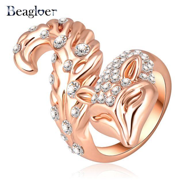 Beagloer Venda Quente Anel De Luxo Cor de Rosa de Ouro de Cristal Austríaco Clássico Fox Forma Anéis de Noivado Bijuterias Ri-HQ0117