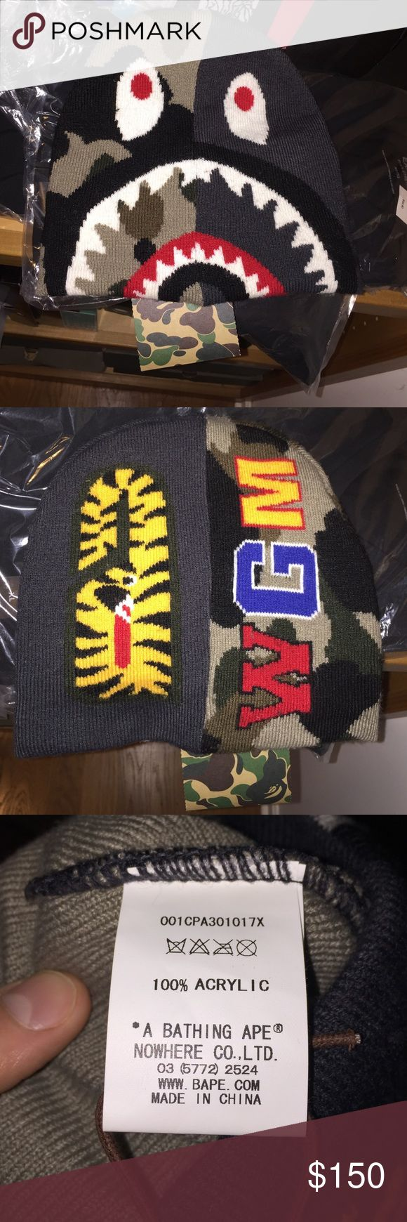 NWT new bathing ape bape beanie !! Brand new NWT with tags and pictures of all care tags to show 100% authenticity!!! No low ball offers and price is firm ! bape Accessories Hats