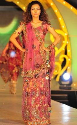 Pink Sheer Indian Wedding Gown