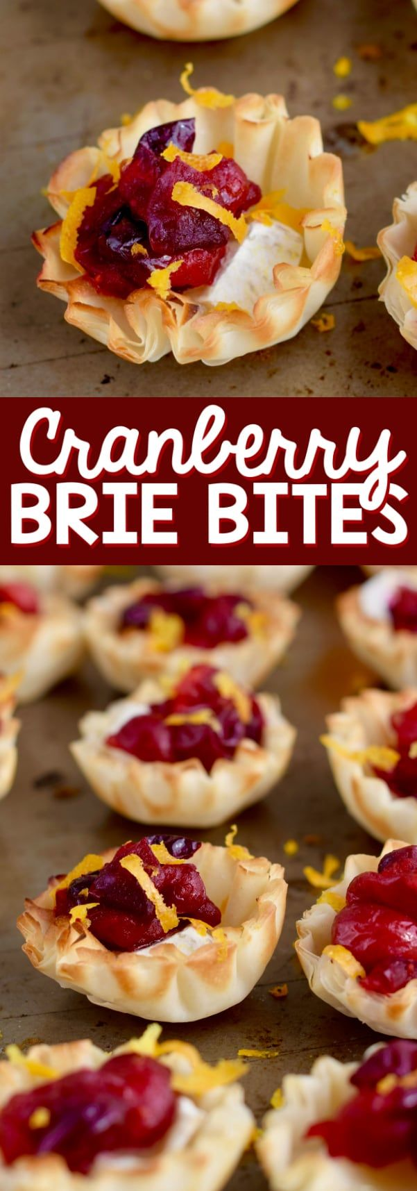 These Cranberry Brie Bites make the perfect holiday appetizer recipe! Made with phyllo dough, they come together so fast and are like little brie and cranberry tartlets.
