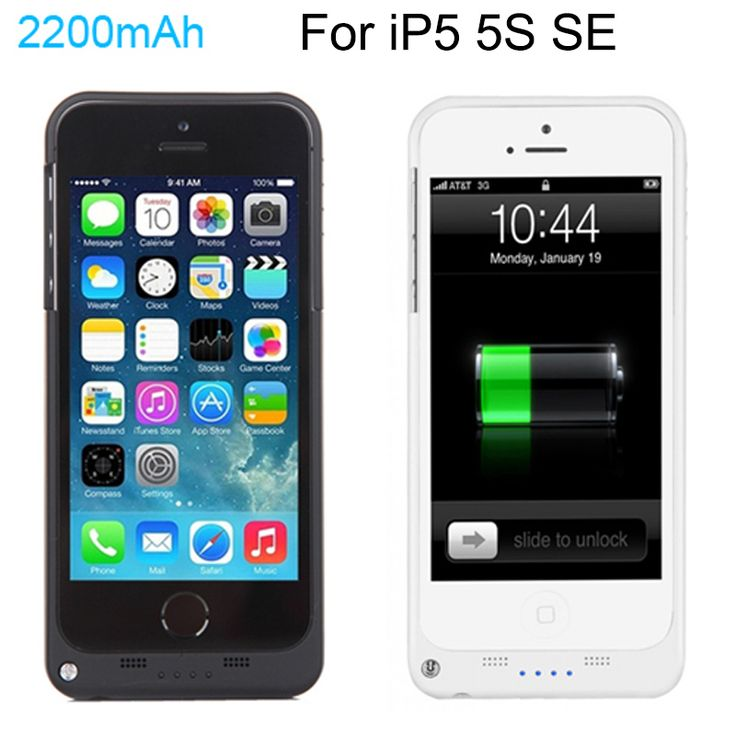 Full 2200mAh External Power bank case pack backup battery Charge case cover for iPhone 5 5s with USB charger cable line