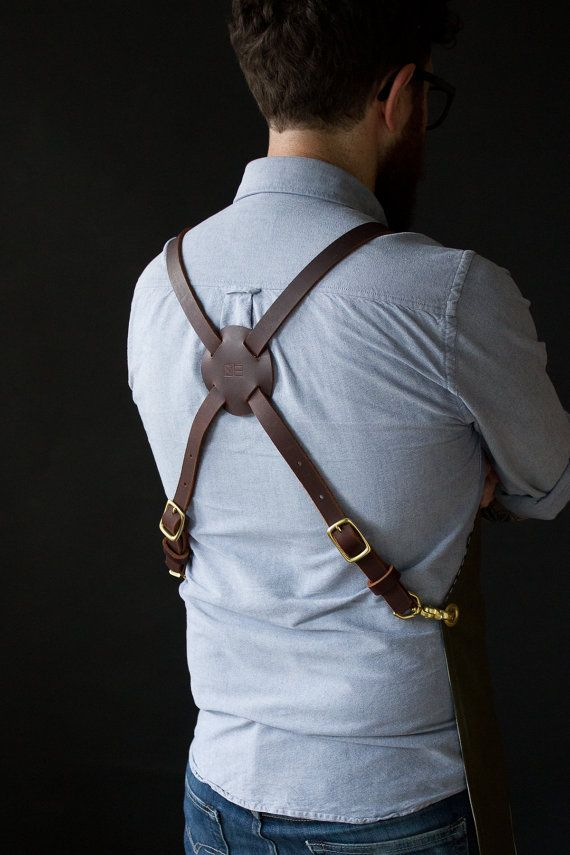 Military tarp apron with leather suspenders by HAMSTERco on Etsy