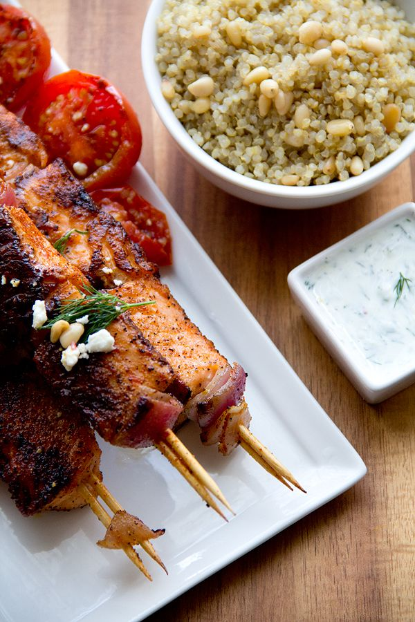 Salmon Skewers With Quinoa-Pine Nut Pilaf, Creamy Cucumber-Dill Sauce and Grilled Campari Tomatoes