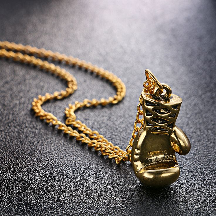 Men Gold Silver Black Mini Boxing Glove Necklace //Price: $2.43 & FREE Shipping // #fashionjewelry