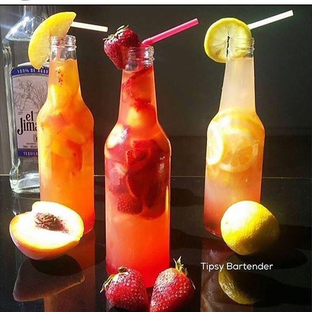 TEQUILA BOTTLES 2 oz (60ml) Tequila Blanco 1/2 oz (15ml) Grenadine 1/2 oz (15ml) sweet N sour Lemonade Juice Crushed ice Fresh Fruit Garnish with fresh fruit/lemon slice.