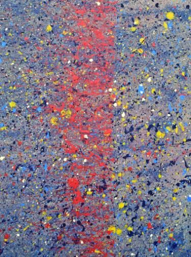 New painting available: The Brain by Sandra Spalding. #acrylic #abstract #modern #splatter #red #yellow #blue #brain #chaotic #mess #beautiful #colorful