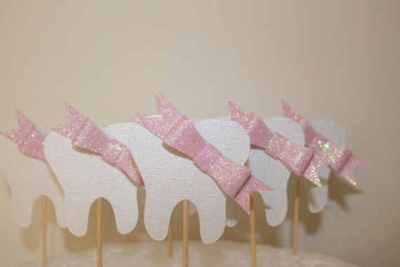 Set of 12 Mini BOW Tooth Party toothpicks cupcake by PoshMyParty