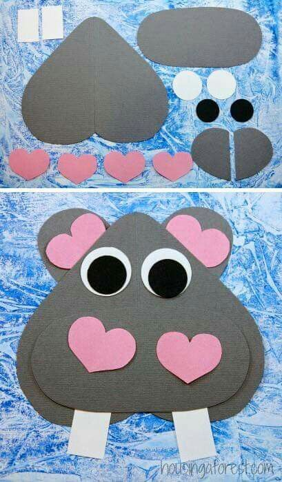 Adorable valentines activity with construction paper. Valentines craft for toddlers, preschool, and school age.