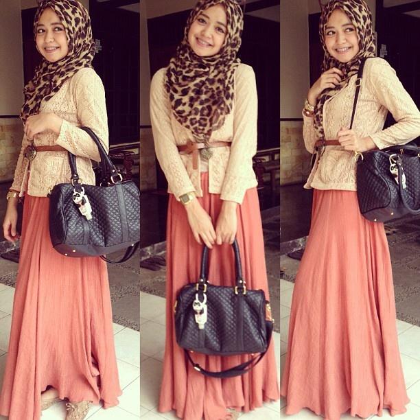Lovelylacely Peach ❤ hijab style
