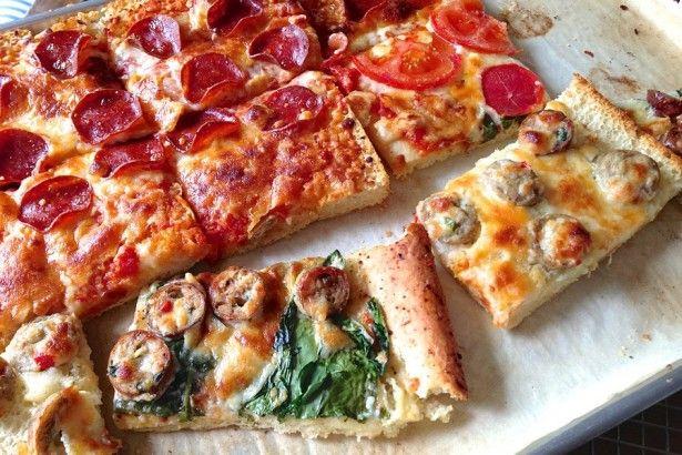 IMG_6314A BLITZ PIZZA USING KING ARTHURS FOCCACHIA BREAD RECIPE   MAKE SICILIAN TYPE PIZZA