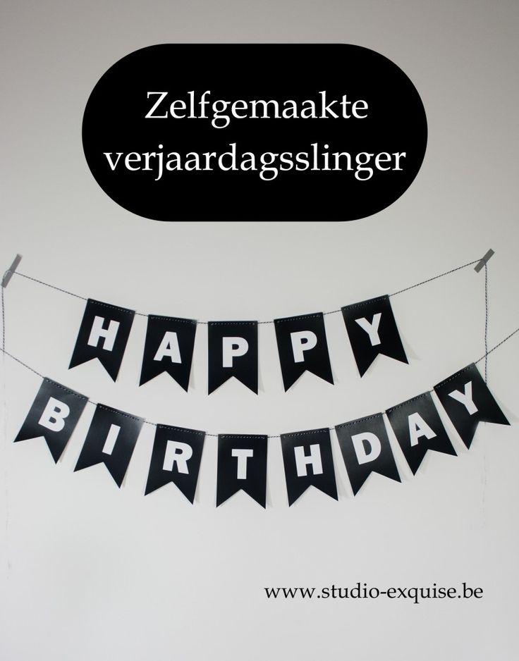 verjaardagsslinger black and white