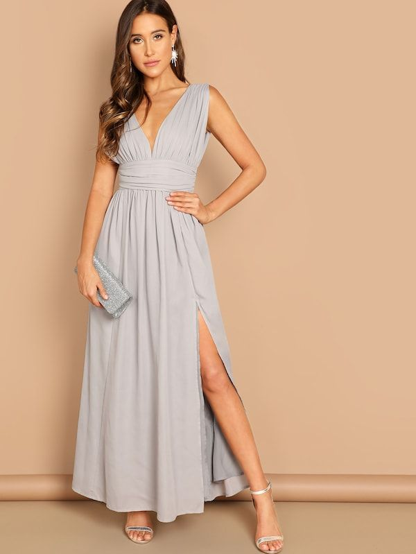 7923d0f5f Ruched Waistband High Split Plunge Prom Dress in 2019 | Women's Maxi ...