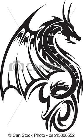 Clipart Vector of Flying dragon tattoo, vintage engraving - Flying ...