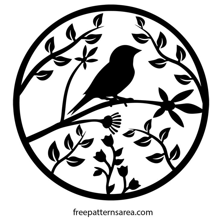 Bird Ornament Vector Art and Scroll Saw Pattern.  This design is a graphic vector composed of bird, trees and florals. This design was drawn with 2d cad program and converted to graphic vector file formats (Free svg, pdf, eps, dwg, dxf, png, step files). You can open and scale these files with programs such as AutoCAD, CorelDRAW, Illustrator and Inkscape. You can cut