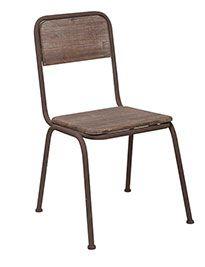 Sedia in ferro marrone e legno brunito