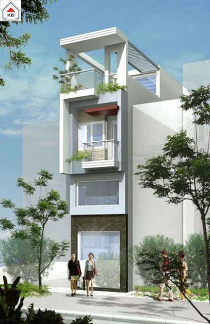 Mẫu thiết kế nhà phố đẹp phong cách hiện đại -> Phối cảnh 4