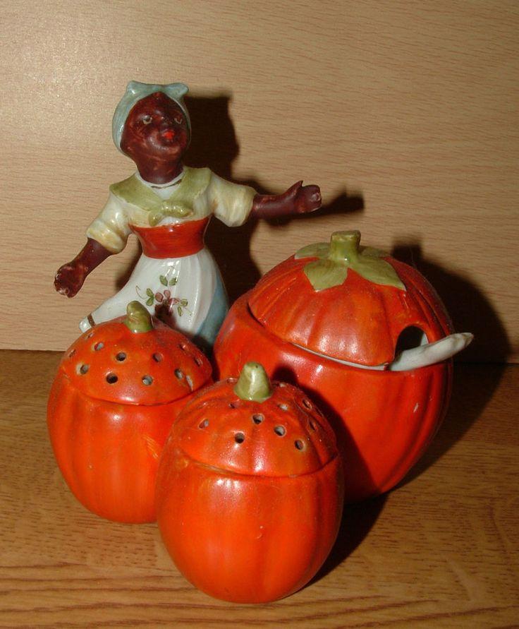 1920s Black American Pumpkin Seller Mustard Salt Pepper Cruet Condiment Set in Collectables, Kitchenalia, Salt & Pepper Pots   eBay!